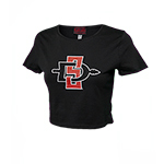 Women's SD Spear Fitted Crop Tee - Black