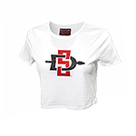 Women's SD Spear Fitted Crop Tee - White