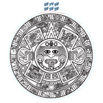 Extra Large Aztec Calendar Decal - White