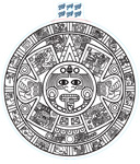 Large Aztec Calendar Decal - White