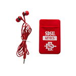 SDSU Aztecs with SD Spear Cellphone ID Case with Earbuds - Red