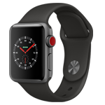 APPLE WATCH SERIES3 GPS + CELLULAR 38MM SPACE GRAY ALUMINUM CASE WITH BLACK SPORT BAND