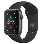 APPLE WATCH SERIES5 GPS 44MM SPACE GRAY ALUMINUM CASE WITH BLACK SPORT BAND