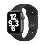 Apple Watch SE GPS, 44MM Black Sport Band - Space Gray Aluminum Case