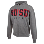 SDSU Alumni Big Cotton Zip Sweatshirt-Charcoal