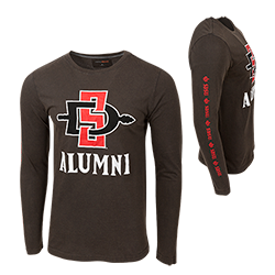 SD Spear Alumni Long Sleeve Tee-Charcoal
