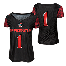 fb555fe4f Women s  1 Football Jersey. Women s football jersey featuring a screen  printed Aztec calendar graphic on the sleeves and San Diego State ...