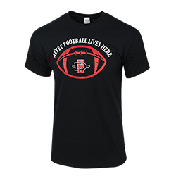 2018 Aztec Football Lives Here Spirit Tee-Black
