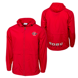 SD Spear SDSU Aztecs Full Zip  Water Resistant Jacket - Red