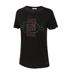Women's Distressed SD Spear Lightweight Tee-Black