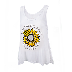Women's San Diego State Sunflower Tank-White