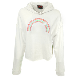 Women's SDSU Aztecs Rainbow Crop Sweatshirt-Cream