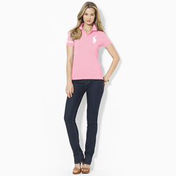 Women\u0027s Ralph Lauren Big Pony Polo- Pink