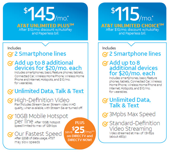 $145/month* At&t unlimited plus. After $5/month discount w/AutoPay and Paperless bill. $115/month* Att&t unlimited choice. After $5/month discount w/AutoPay and Paperless bill.