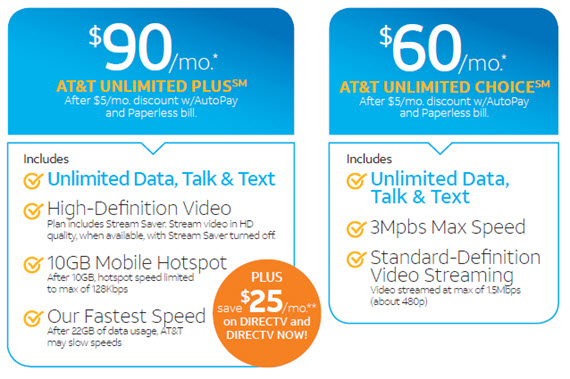 $90/month* At&t unlimited plus. After $5/month discount w/AutoPay and Paperless bill. $60/month* Att&t unlimited choice. After $5/month discount w/AutoPay and Paperless bill.