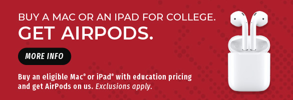 Buy an eligible Mac or iPad with education pricing and get AirPods on us. Exclusions apply. More info.