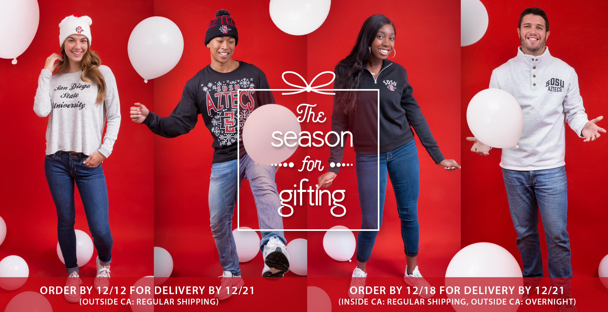 The season for gifting. Order by December 12 for delivery by December 21 outside California with regular shipping. Order by December 19 for delivery by December 21 in California with regular shipping and outside California with overnight shipping.